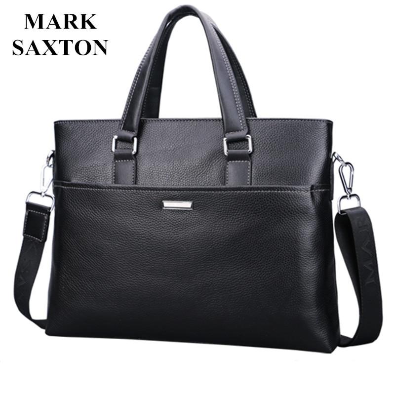 Nouvelle Mode En Cuir Véritable Célèbre Marque hommes serviette, Mark Saxton ordinateur portable commercial serviette, croix-corps sac à bandoulière