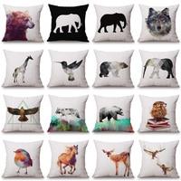 Bear Elephant Wolf Giraffe Sika Deer Printed Cushion Cover Decorative Pillowcase Use For Home Sofa Car Office Almofadas Cojines