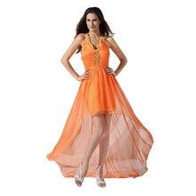 Orange High-Low Sexy Chiffon Abendkleid Halter Backless geraffte Cocktail Party Kleider Robe De Soiree 2016 Homecoming Kleid benutzerdefinierte