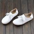 Mão-feito Calçados Femininos 100% Autêntico Couro toe Rodada Lace up sola de borracha Das Senhoras Sapatos Baixos Slip-resistência Sapato feminino (5188-3