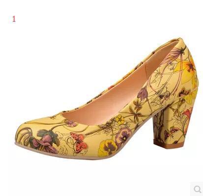 Я тебя люблю Высокие Каблуки Женская Обувь На Каблуках Круглый Носок Квадратных каблуки Женский Цветок Насосы Дешевая Рабочая Обувь Желтый Красный Большой размер 32-43