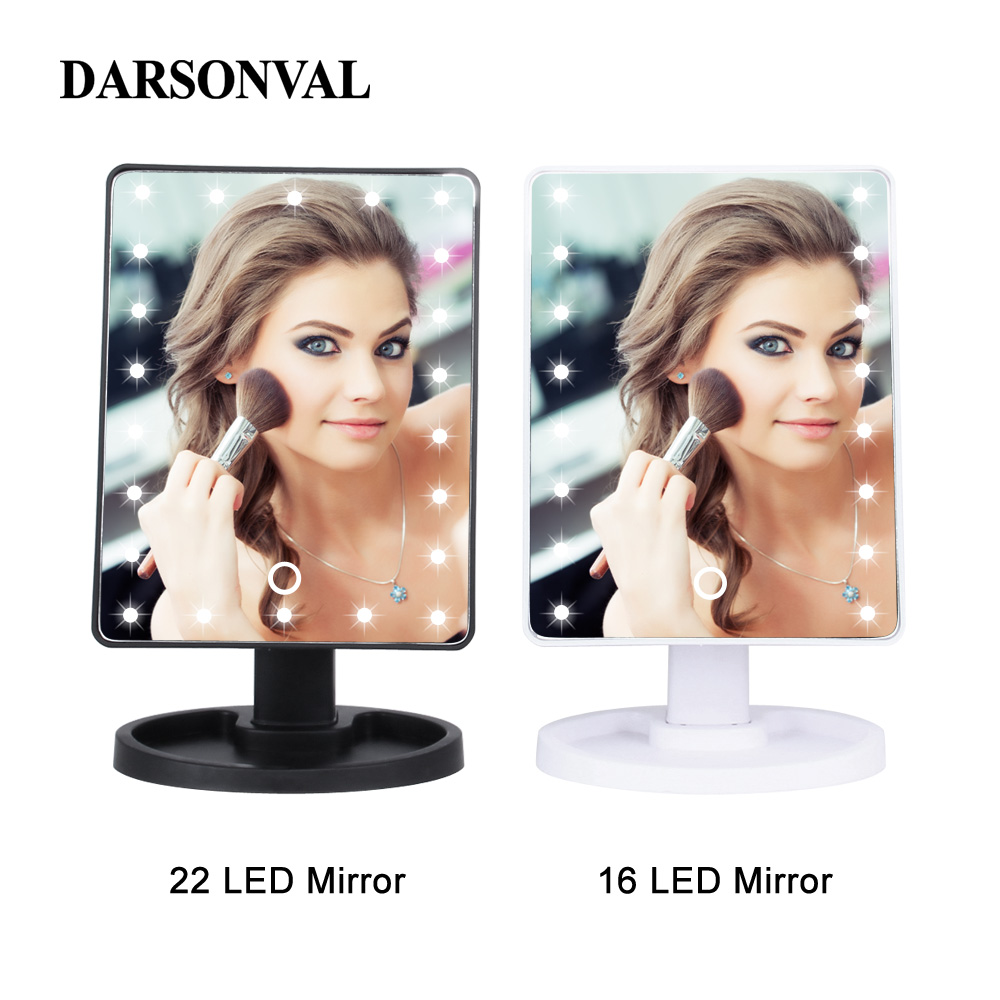 LED Professional Lighted Makeup Mirrors With Adjustable LED Light 16/22 Touch Screen Mirrors For Beauty Makeup Eyelash Brush 2