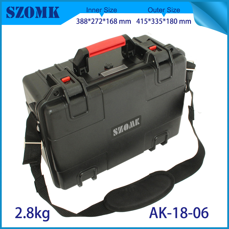 waterproof plastic hard tool carrying case pp and abs weatherproof equipment tool case with Sponge inside 415x335x180mm szomk