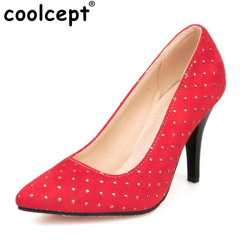 Coolcept women  plus size 28-50 high heel shoes pointed toe ladies quality footwear fashion heeled pumps heels shoes P18901 new 2017 spring summer women shoes pointed toe high quality brand fashion womens flats ladies plus size 41 sweet flock t179