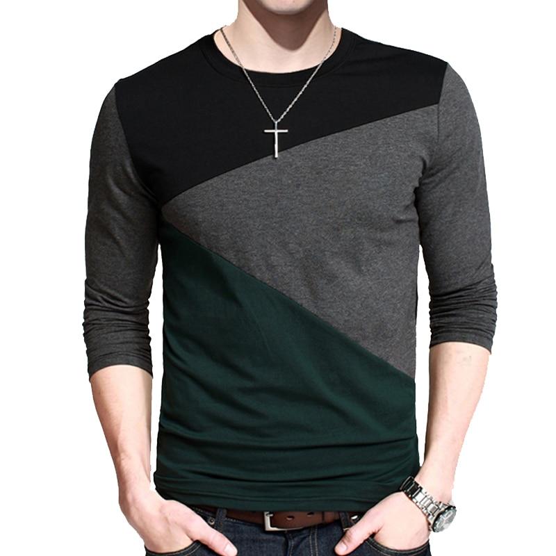 BROWON Casual T-shirts Men Long Sleeve Patchwork Design Streetwear Trend O-neck Plus Size Tshirt Mens Clothing M-5XL
