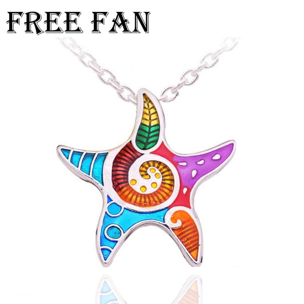 Free Fan Maxi Statement Alloy Enamel Starfish Pendant Necklace Choker Collar Ocean Sea Animal Jewelry For Women Party Gift
