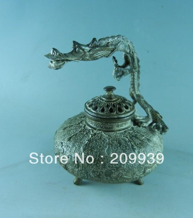 00830 Chinese Antique Dragon Handles Bronze Censer Incense Burner