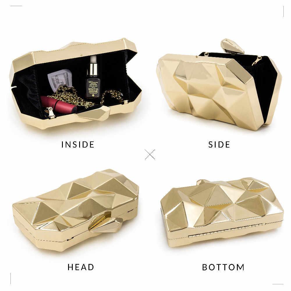 Milisente, роскошная сумка в коробке для женщин, дизайнерская, шестигранная, металлическая, золотая, мини-клатч для девочек, Повседневная сумка на плечо, женские сумки, высокое качество