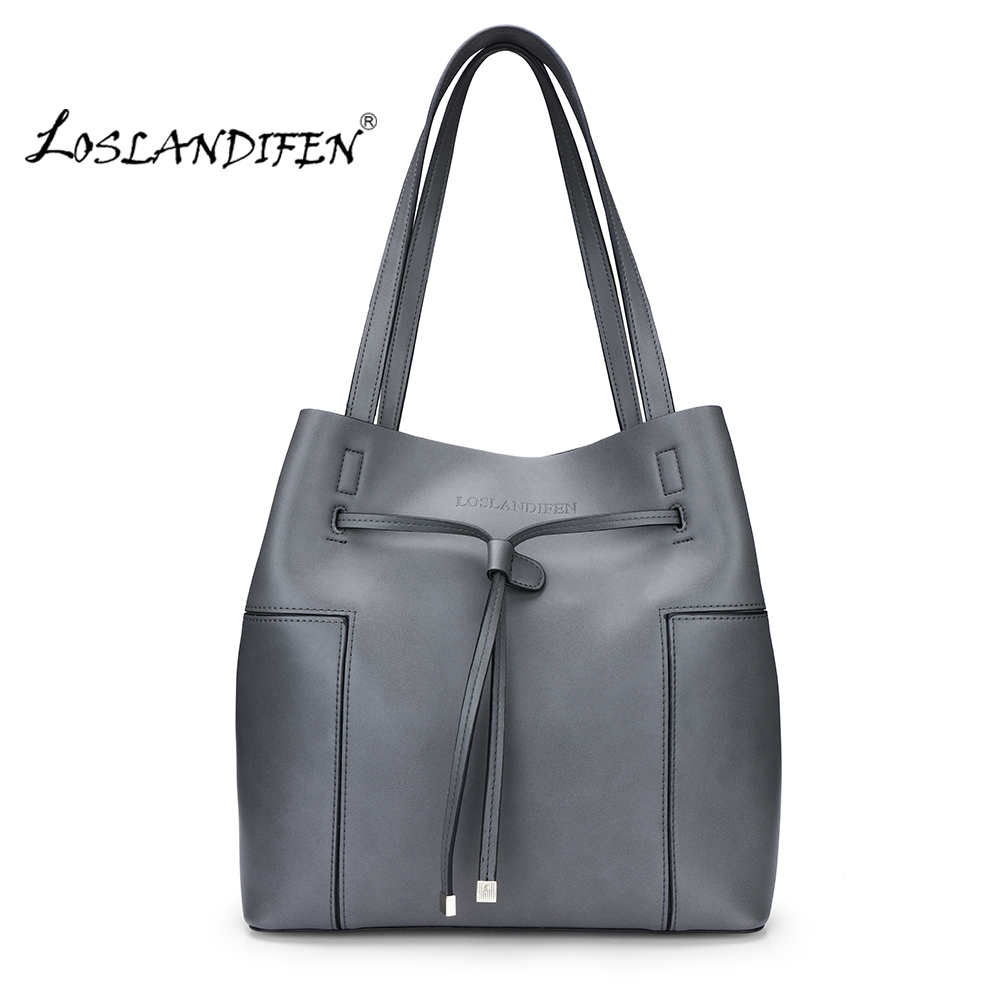 Fashion New Women Handbag Ladies Soft Leather Red Shoulder Bags Elegant Work Bucket Bag Tote Purse Straps Stitching Bag 301