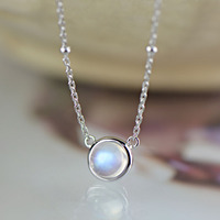 2018 Promotion Round Fashion Nepal Moonstone Real 925 Sterling Pendants Necklace For Women Wholesale Jewelry Free Shipping