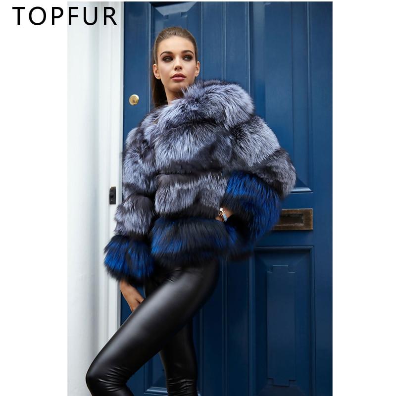 TOPFUR Nouvelle Mode D'hiver Naturel Silver Fox Fourrure Veste Femmes Épais Chaud Occasionnel Bas Manteau De Luxe Mince Manteaux De Fourrure 2018