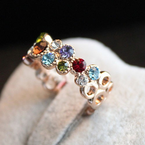 Austrian Crystal Stellux 18GP Gold Plated Flower Pattern Love Women Lady Cute Round Multicolor Ring Elegant Fashion Jewelry R064 gold earrings for women
