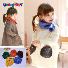 5pc Child wool scarf  girls boys Autumn and winter warm scarf Korean children candy-colored woolen scarf all-match kids clothing