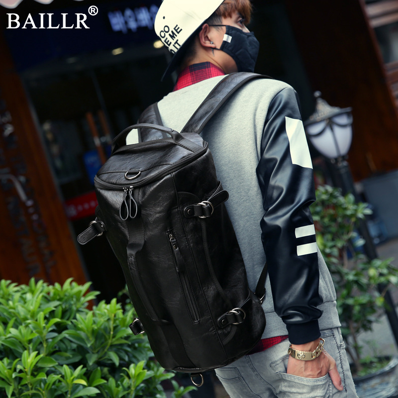 New Buckets Backpacks Bags Male Double Shoulder bags Soft pu leather Large Capacity Backpacks Fashion Waterproof Travel Backpack