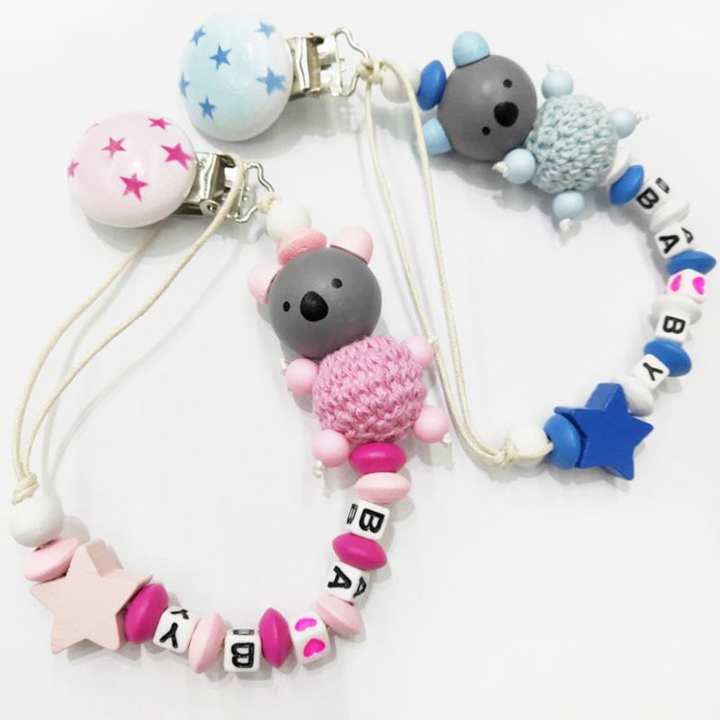 Koala Baby Pacifier Chain Clip Letter Anti-fall Newborn Dummy Pacifier Clip Holder Infant Nipple Feeding