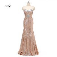 LORIE Actual Images Crystals Sequin Prom Dresses Mermiad Cheap Party Dress Plus Size Party Evening Dress