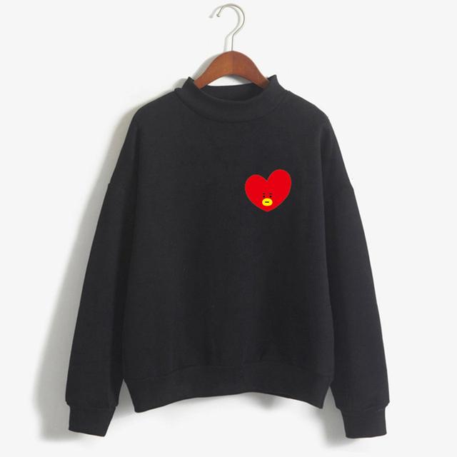 2018 Women Sweatshirts Kpop BTS Fans Club Fashion BT21 Kawaii Anime Fleece Hoodies Ladies Sweatshirt Harajuku Moletom Pullover