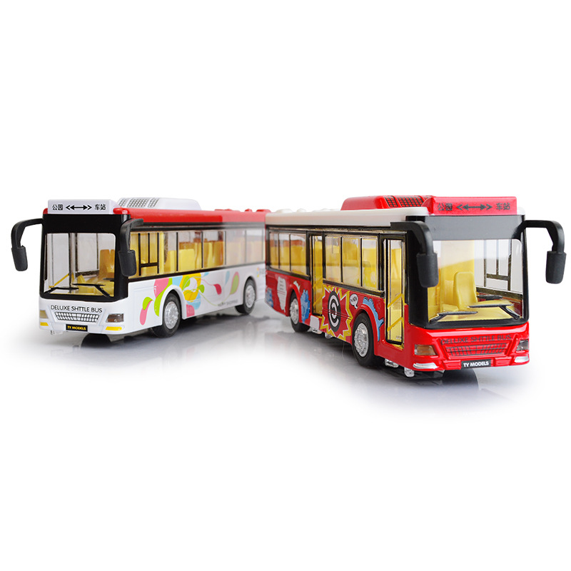 Color Bus Alloy Car Model With Pull Back Electronic Toy With Simulation Lights And Music Model Car Toys For Kids Birthday Gift