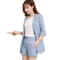 Business Office Lady 2 Piece Sets Women Work Striped Blazer High Waist Mini Cotton Linen Shorts Trousers Elegant Two Piece Sets
