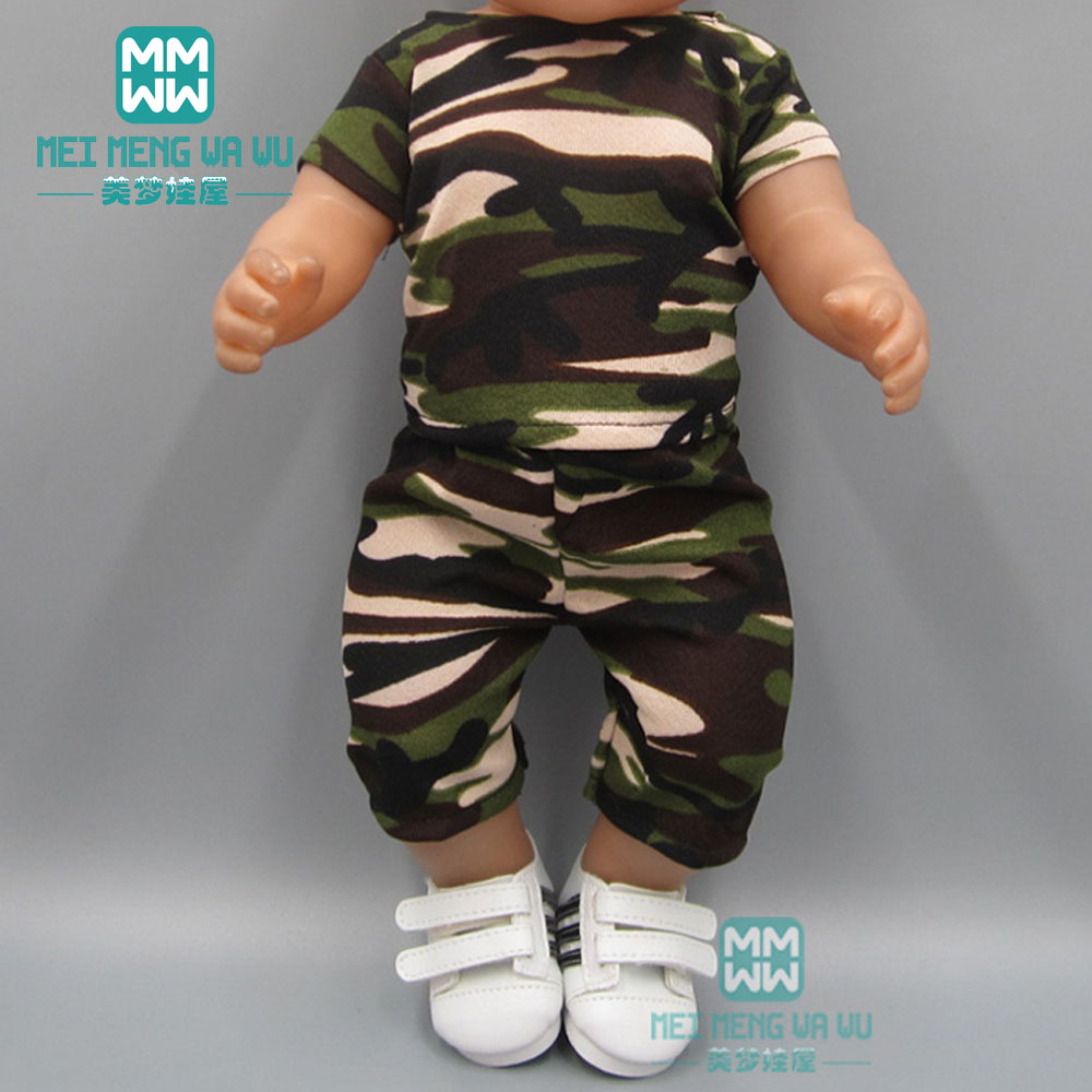 Doll Clothes For 43 Cm New Born Doll Accessories And American Doll Camouflage Sportswear Suit Good Companions For Children As Well As Adults