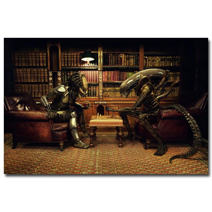 NICOLESHENTING Alien Vs Predator 3 Play Chess Movie Art Silk Poster Print 12x18 24x36