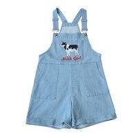 952c1df739872 Harajuku Sweet Lolita Loose Adjustable Overalls Shorts Kawaii Women Denim  Cute Cow Embroidery Suspender Trousers Summer