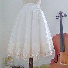 Лолита Стиль Mori девушка Нижняя юбка сплошной цвет хлопок кружево универсальная базовая юбка леди милые Saia