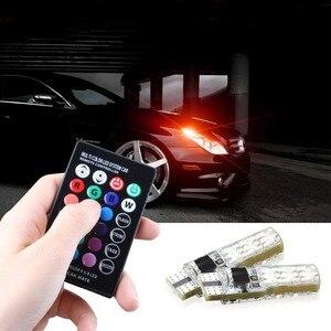 Image 5 - سيارة أضواء الإشارة T10 w5w Led لمبة 12 فولت السيارات الداخلية ضوء w5w T10 Led مصابيح مصابيح سيارات التخليص RGB مع جهاز التحكم عن بعد 12 فولت