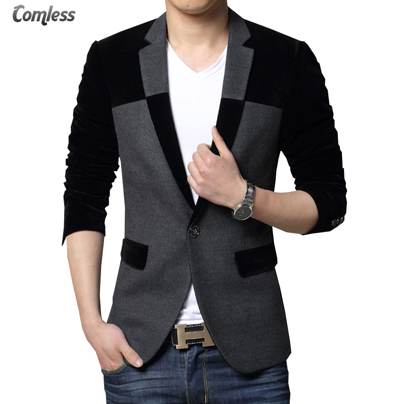 Veste Costume Homme 2016 New Men 39 S Velvet Blazer Slim Fit Casual Men Suit Jacket Patchwork