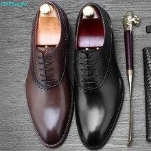QYFCIOUFU Brand Oxford Shoes Men Wedding Office Formal Genuine Leather Luxury Italian Handmade Mens Footwear Dress