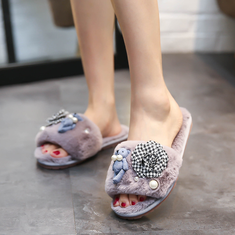 c4667379c17641 women plaid camellia fur home slippers cute bear decoration flip flops  fashion pearl fur sandals ladies winter fur shoes c166-in Slippers from  Shoes on ...