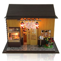 Sushi Bar DIY Wood Dollhouse Miniature Doll House Toy With LED Furniture Japanese Style Home Decoration Toys For Children Gift