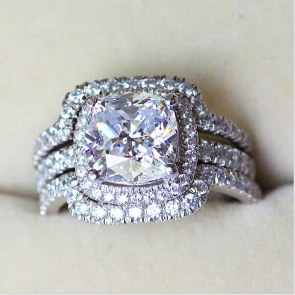 Victoria Wieck Cushion cut 8mm Pietra 5A pietra Zircone 10KT Oro bianco Riempito Gli Amanti 3-in-Fidanzamento Wedding Ring Sz 5-11