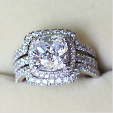 Victoria Wieck Cushion cut 8mm Stone 5A Zircon stone 10KT White Gold Filled Lovers 3-in-1 Engagement Wedding Ring Set Sz 5-11(China)