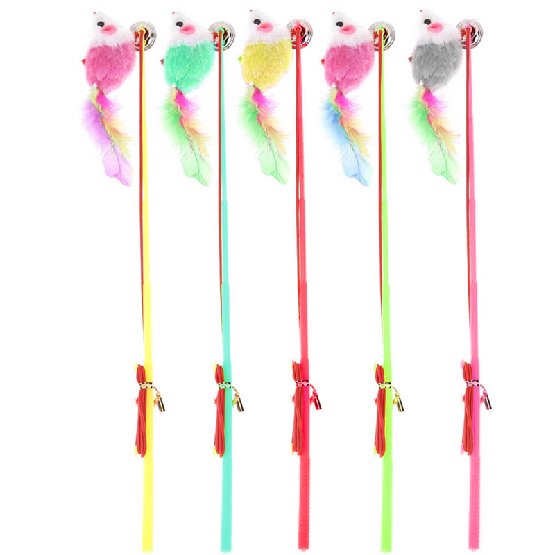 5pcs False Mouse Kitten Cat Toy Colorful Plastic Wire Feather Rod Elastic Rope Play Pet Dangler Wand Teaser Toys Funny Cat Toys