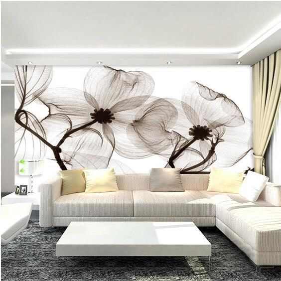Black White Flower Abstract Photo Mural Wallcoverings Wallpapers Murals Wall Paper Roll Bedroom Decor Custom Any Size In From Home