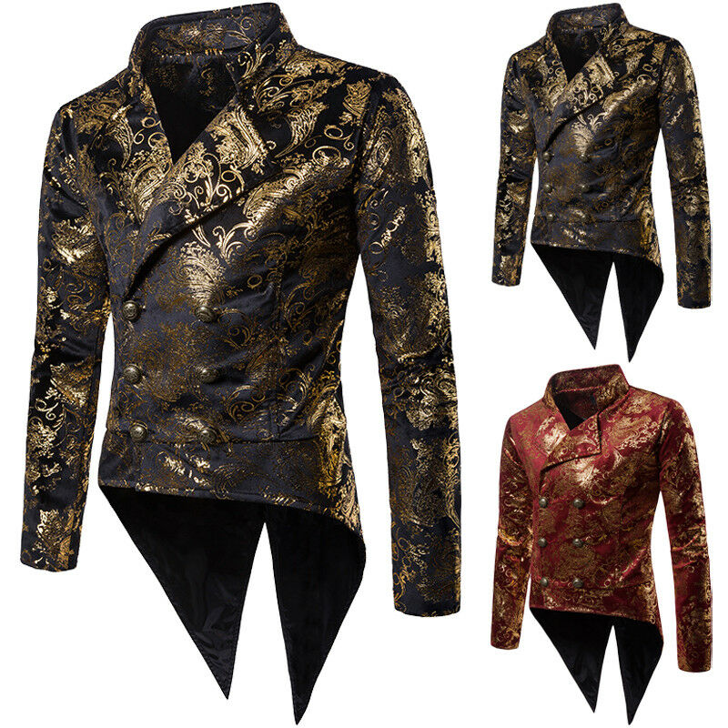 New Men's Jacket Tail Coat Goth Steampunk Victorian Nightclubs Wedding Party Men Nightclub Prom Suit Blazer Men Costume Homme