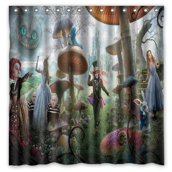 custom waterproof bathroom shower curtain alice in wonderland mildew resistant polyester fabric bath curtains 180 180cm