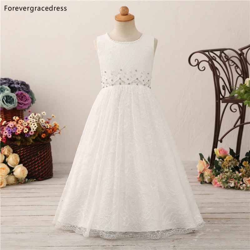 Forevergracedress Lovely   Flower     Girls     Dresses   2019 A Line Lace Beading Kids Pageant Children Gowns