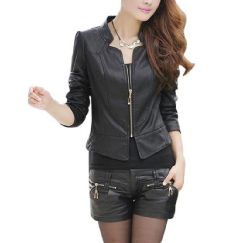 Trend Clothes Store Winter Slim Womens Sexy Biker Motorcycle PU Leather Jacket Zipper Coat