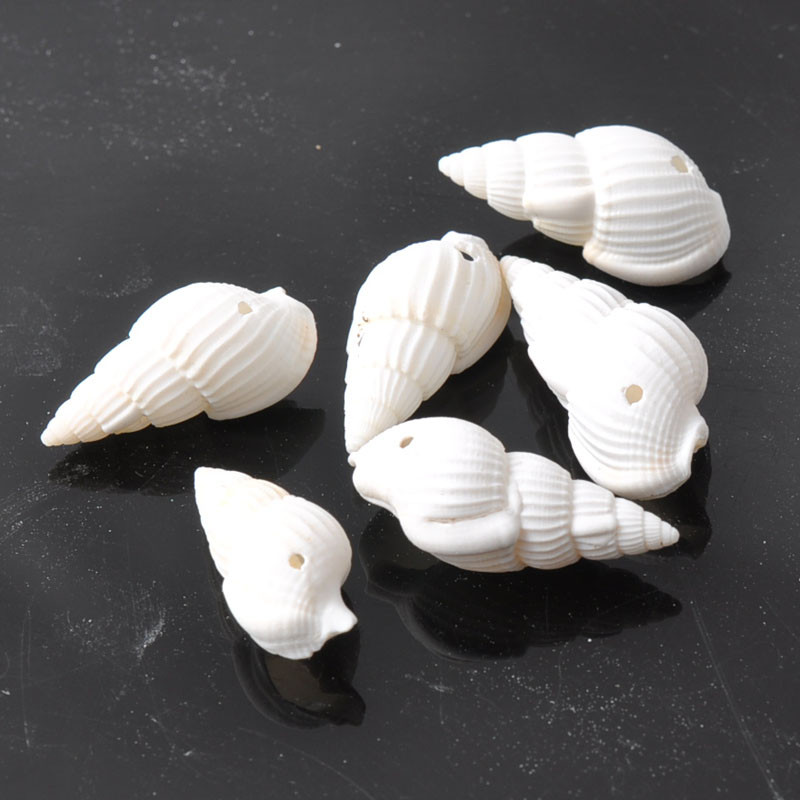 30pcs/lot White Natural Spiral Shell Loose Beads For Jewelry Making DIY Sea Conch