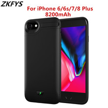 ZKFYS 8200mAh Battery Charger Case For iPhone 6 6s 7 8 Plus Portable Larger Capacity Fast Charging Power Bank Back Clip