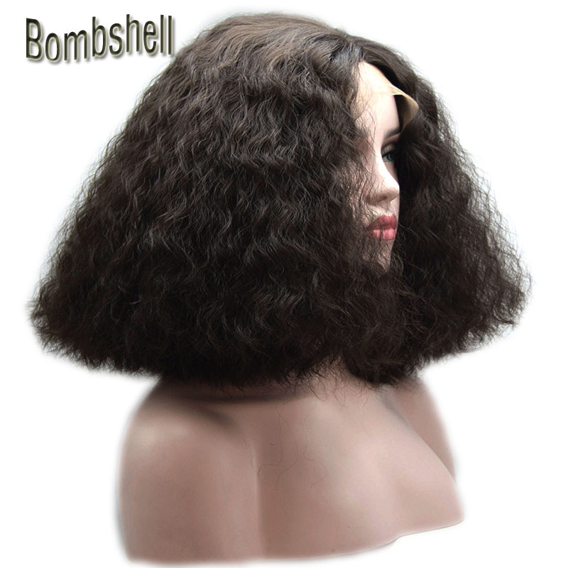 Bombshell Black Or Obrown Loose Curly Short Bob Synthetic Lace Front Wig Gluelss Heat Resistant Fiber