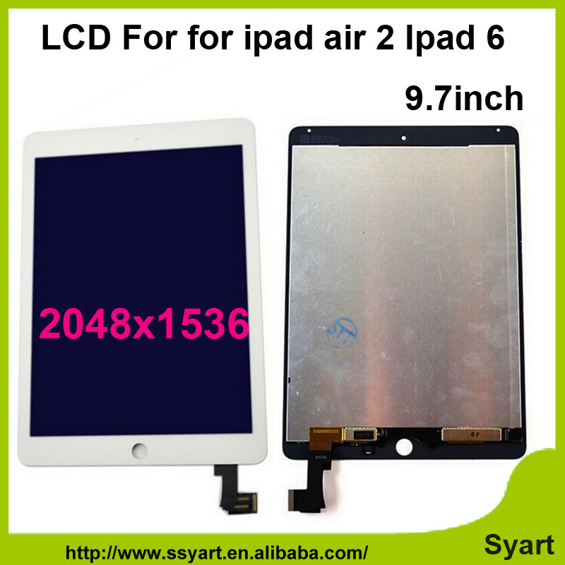 Fast shipping White Black Digitizer LCD Display Touch Screen Assembly With No Dead Pixel And No Bubbles For iPad Air 2 ipad 6