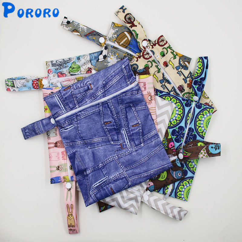 5 PCS Washable Travel Wet Bags  Single Zipper Print Waterproof Reusable Cloth Diaper Bag PUL Nappy Wet Dry Bags Wetbags 25x20cm