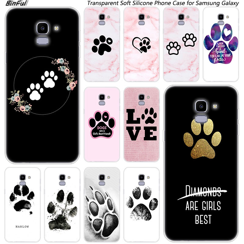 Best friends <font><b>Dog</b></font> paw Soft Silicone <font><b>Case</b></font> For <font><b>Samsung</b></font> Galaxy J8 J6 J4 2018 J2 Core J5 J6 <font><b>J7</b></font> Prime J3 2016 2017 EU J4 Plus Cover image
