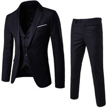 Fashion Mens Suit Jackets Slim 3 Pieces Suit Blazer Business Wedding Party Male Jacket Vest with Pants Plus Size Suit Set