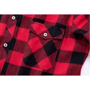 Image 3 - חדש לגמרי פלנל משובץ חולצה גברים מזדמן ארוך שרוול גבוהה כותנה אופנה 2018 זכר חולצה תחתונית Homme Camisa Masculina החברתי