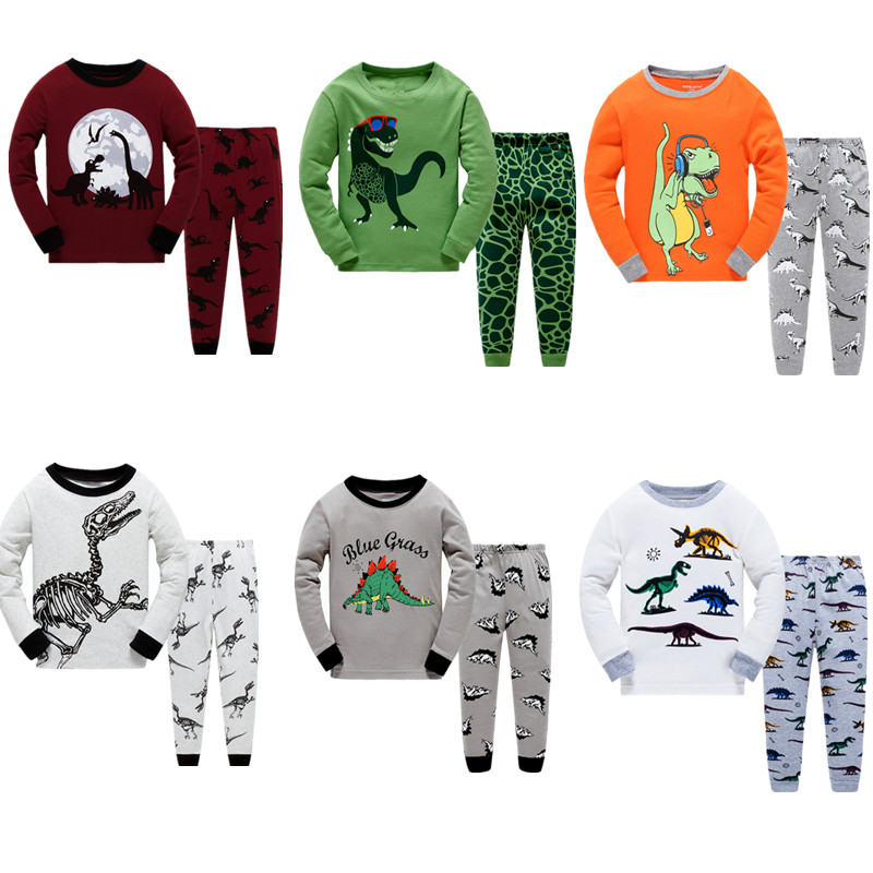 LUCKYGOOBO Kids   Pajamas     Set   Boys Dinosaurs printing Sleepwear fashion pyjamas   Set   2-7Y Children's Home   pajamas   Baby Boy Clothing