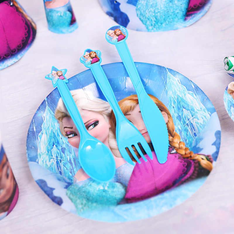 ดิสนีย์แช่แข็ง Elsa Princess ชุดตกแต่ง PARTY ถ้วยหลอดของขวัญวันเกิดเด็ก